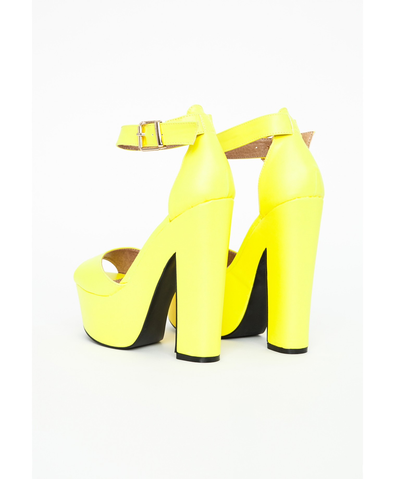52bb26b89b2 Lyst - Missguided Alana Platform Block Heels In Neon Yellow in Yellow