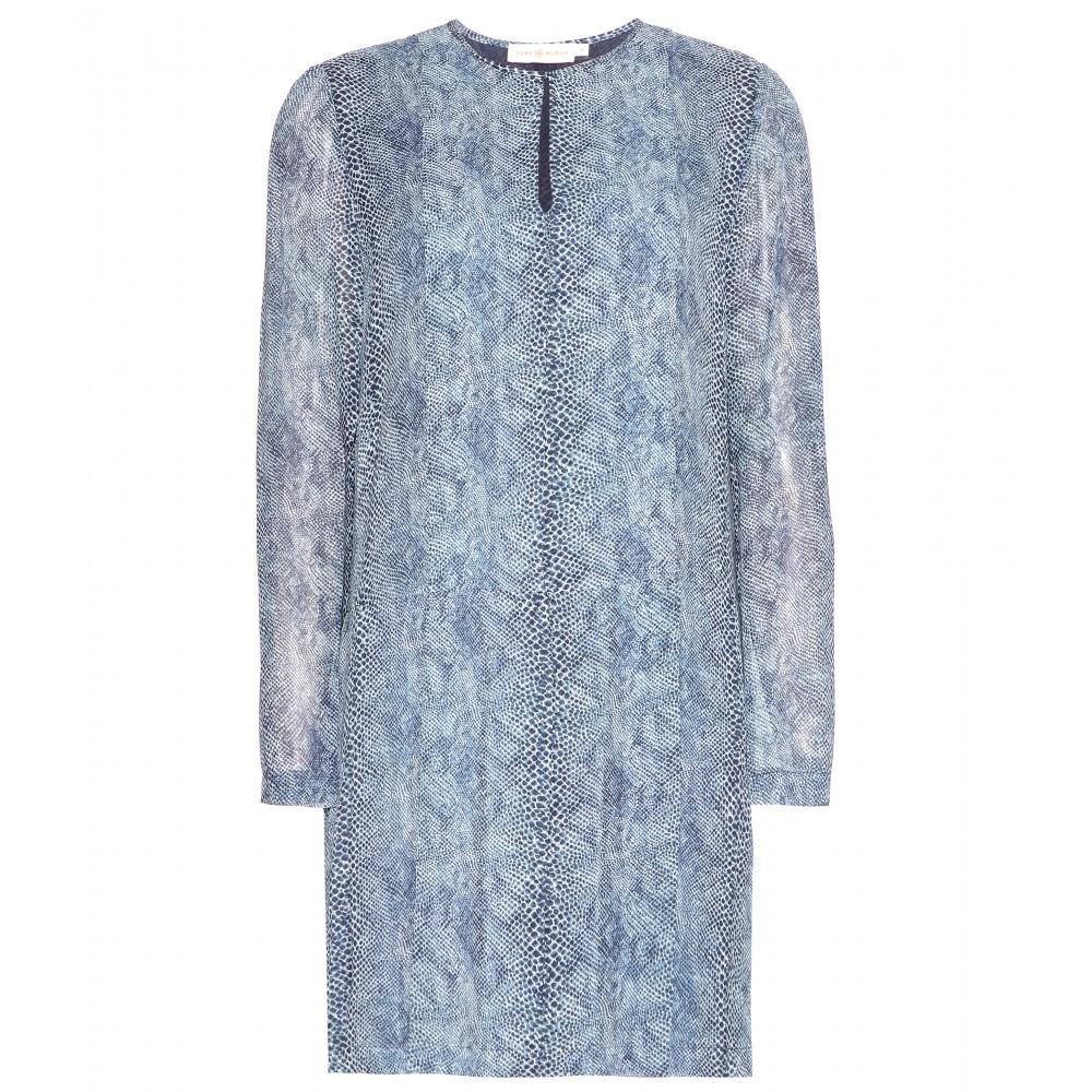 Tory burch Printed Silk Chiffon Dress in Blue