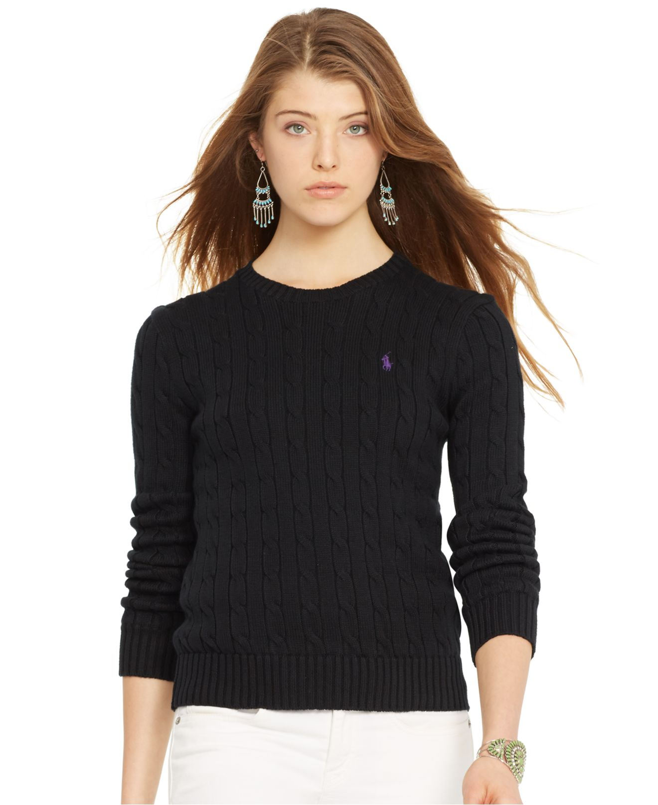 797cf1491 Lyst - Polo Ralph Lauren Crew-Neck Cable-Knit Sweater in Black