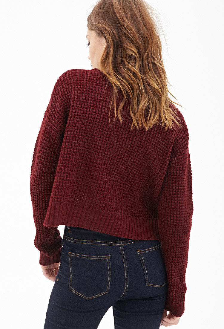 forever 21 cropped waffle knit sweater in red lyst