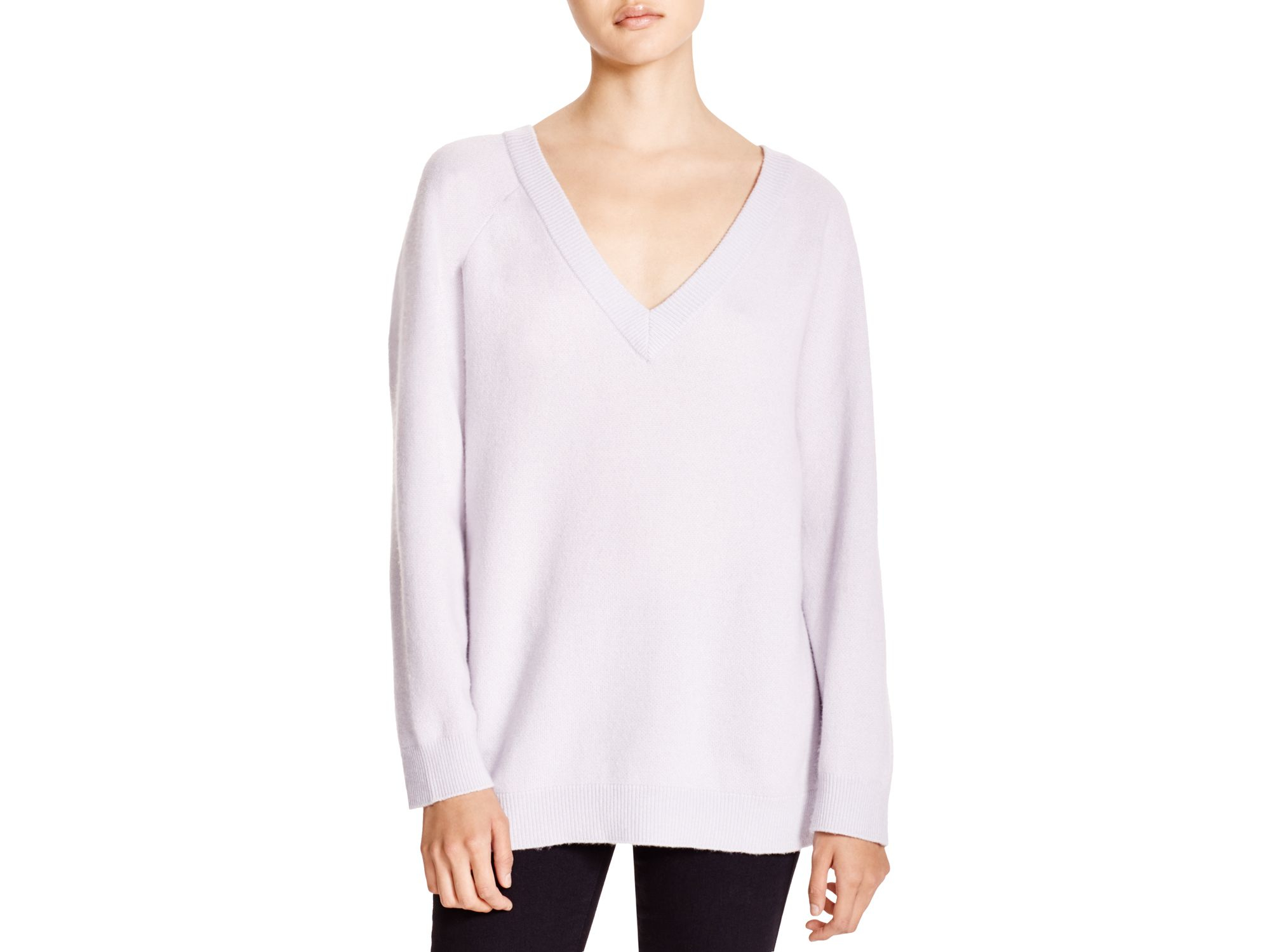 T by alexander wang Wool Cashmere V Neck Sweater in White | Lyst