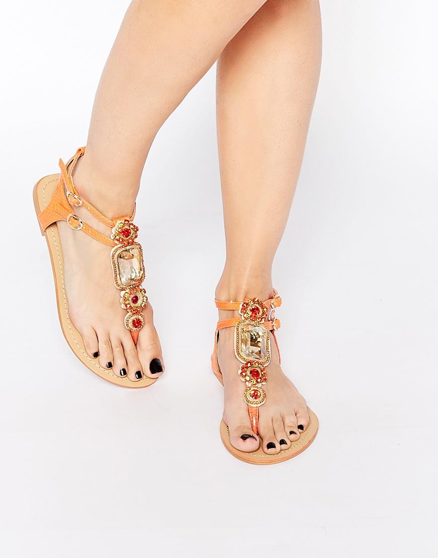 5196564d787 Lyst - Forever Unique Corey Embellished Toepost Flat Sandals in Orange