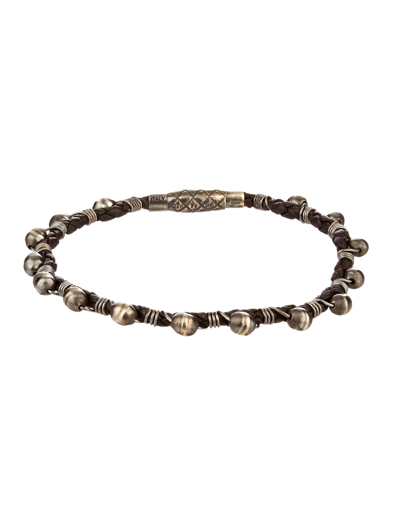 bottega veneta oxidised silver and woven leather bracelet