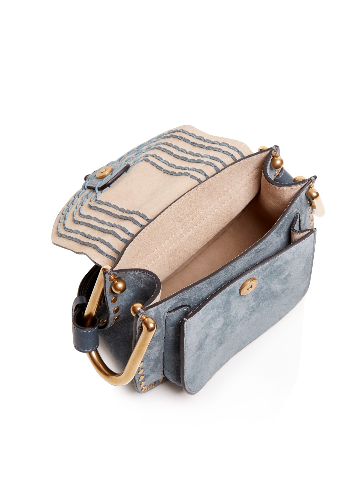 533c56289b01 Chloé Hudson Suede Cross-Body Bag in Blue - Lyst