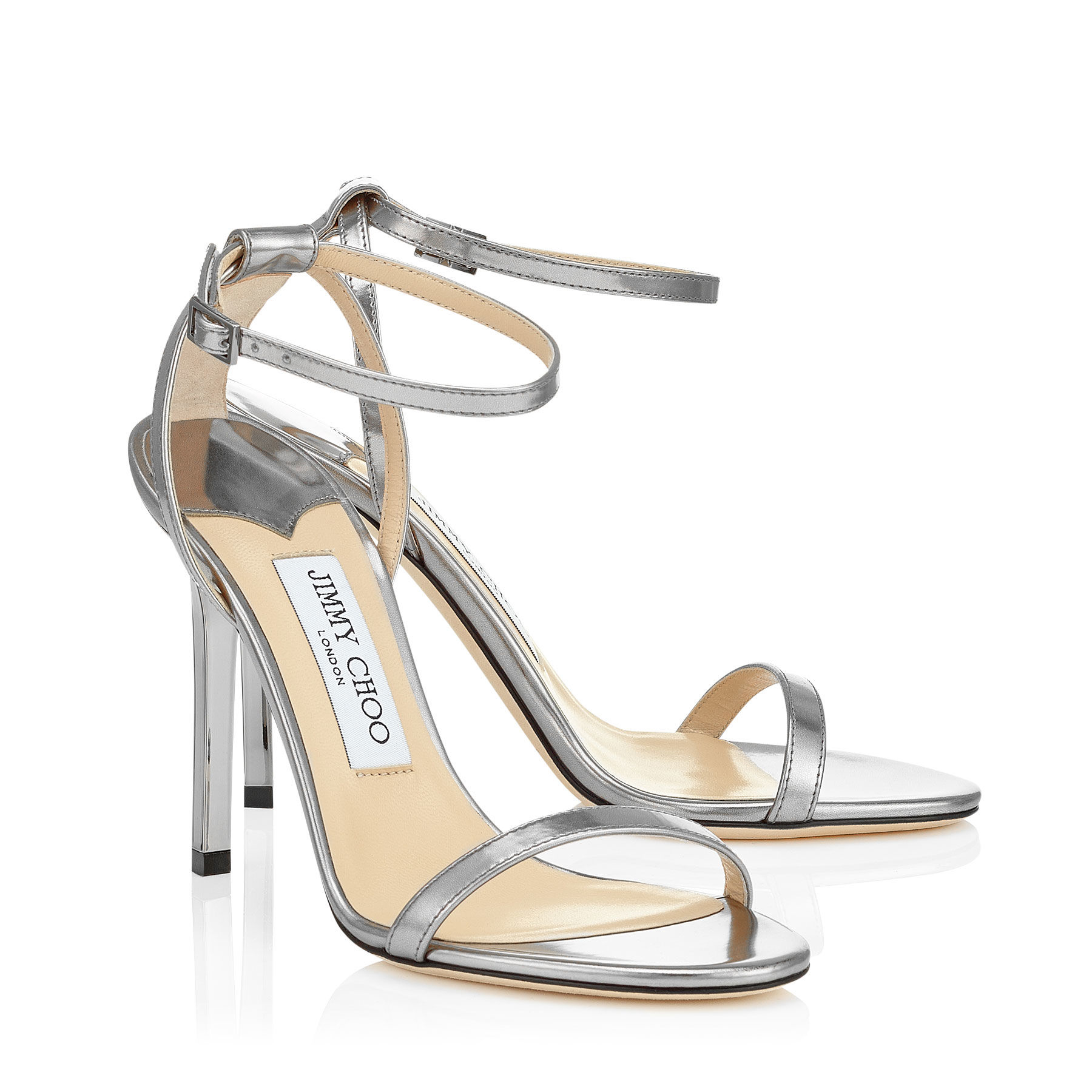 ab192c486754 ... shopping lyst jimmy choo minny 100 steel mirror leather sandals in  metallic e5551 cc045