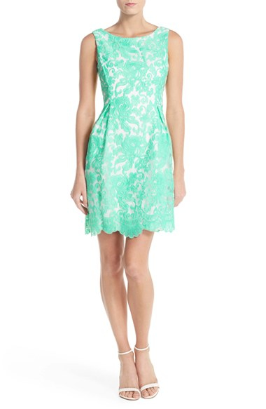 Donna Ricco Embroidered Organza Fit Amp Flare Dress In Green
