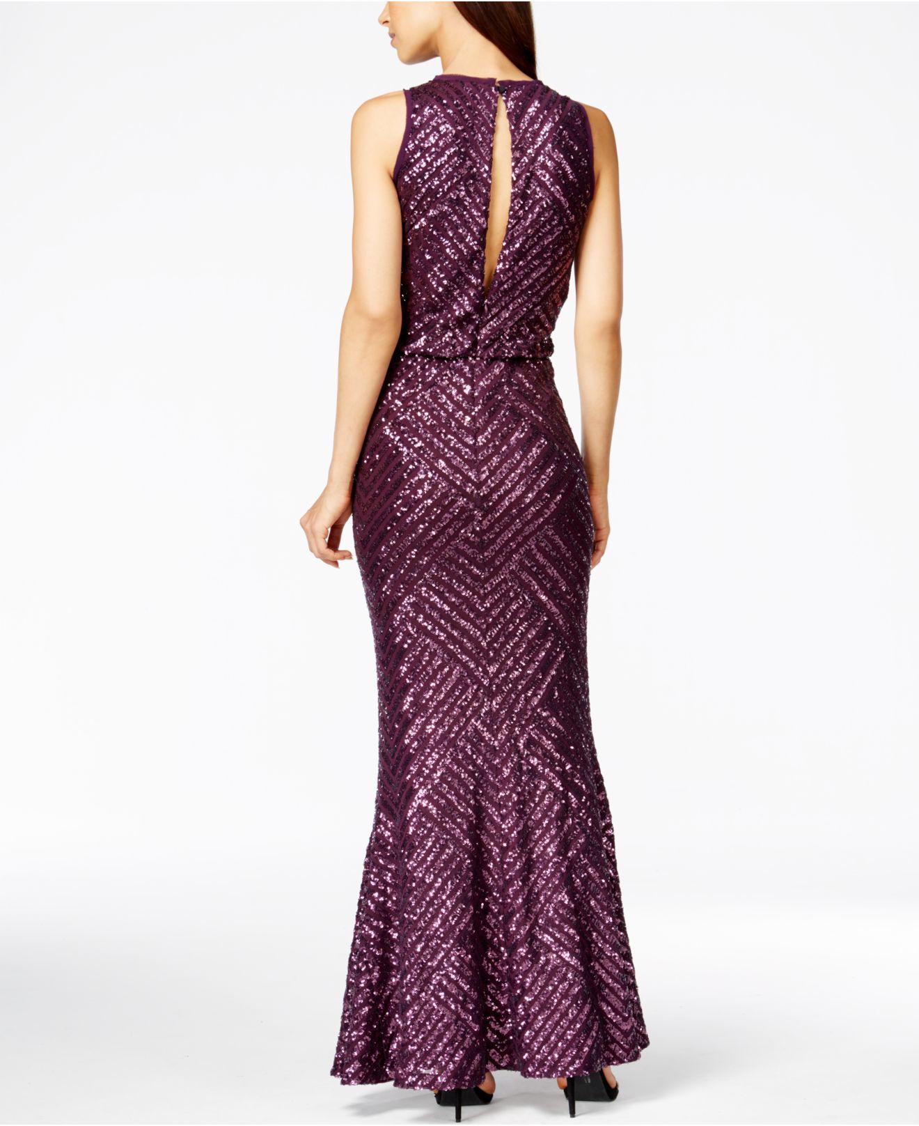 4038e9faa3d6 Calvin Klein Sequin Open-back Mermaid Gown in Purple - Lyst