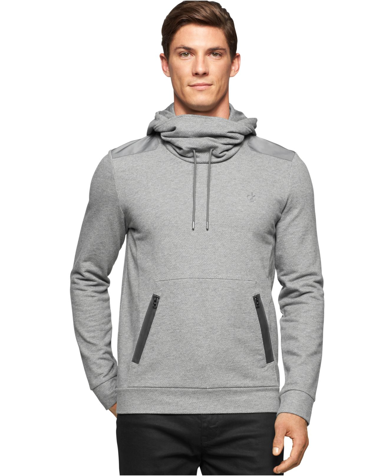 Calvin klein Funnel-neck Pullover Sweatshirt in Gray for Men | Lyst