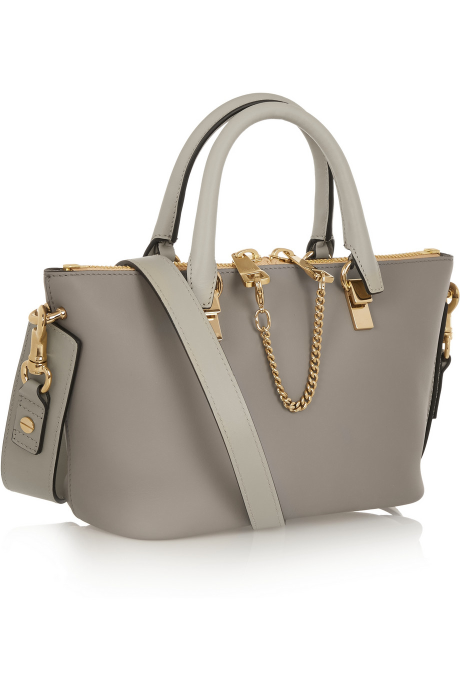 Chlo¨¦ Baylee Mini Leather Tote in Gray | Lyst