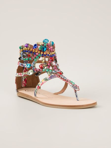 Jeffrey Campbell Jewel Embellished Sandal In Multicolor