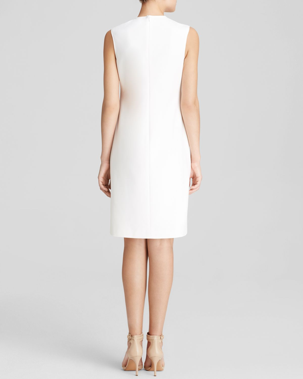 7d6002a9 Anne Klein Dress - Sleeveless High Neck Crepe Shift in White - Lyst
