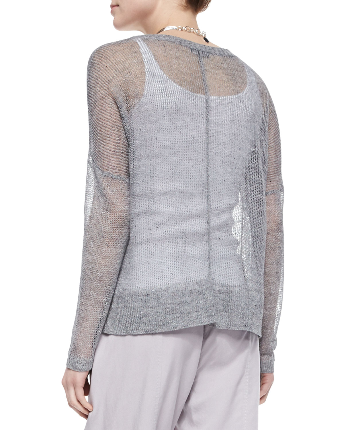 Eileen fisher Deep-V-Neck Rustic Sheer Cardigan in Gray | Lyst