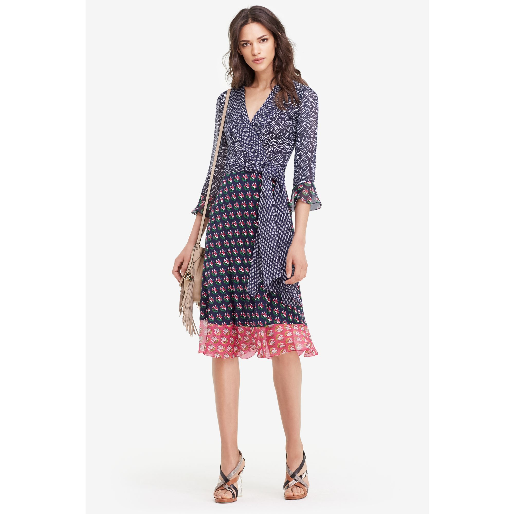 Lyst - Diane Von Furstenberg Nieves Silk and Chiffon Wrap Dress