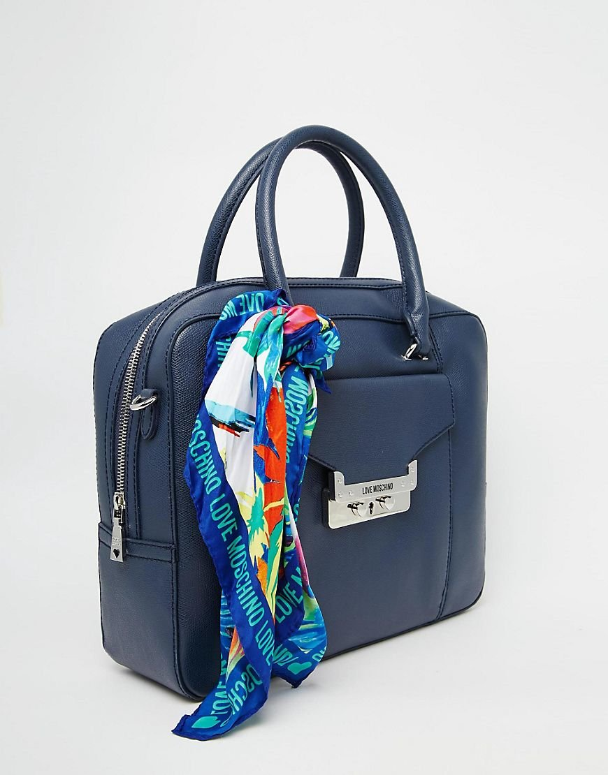 6c73013c0f Lyst - Love Moschino Tote Bag With Scarf in Blue