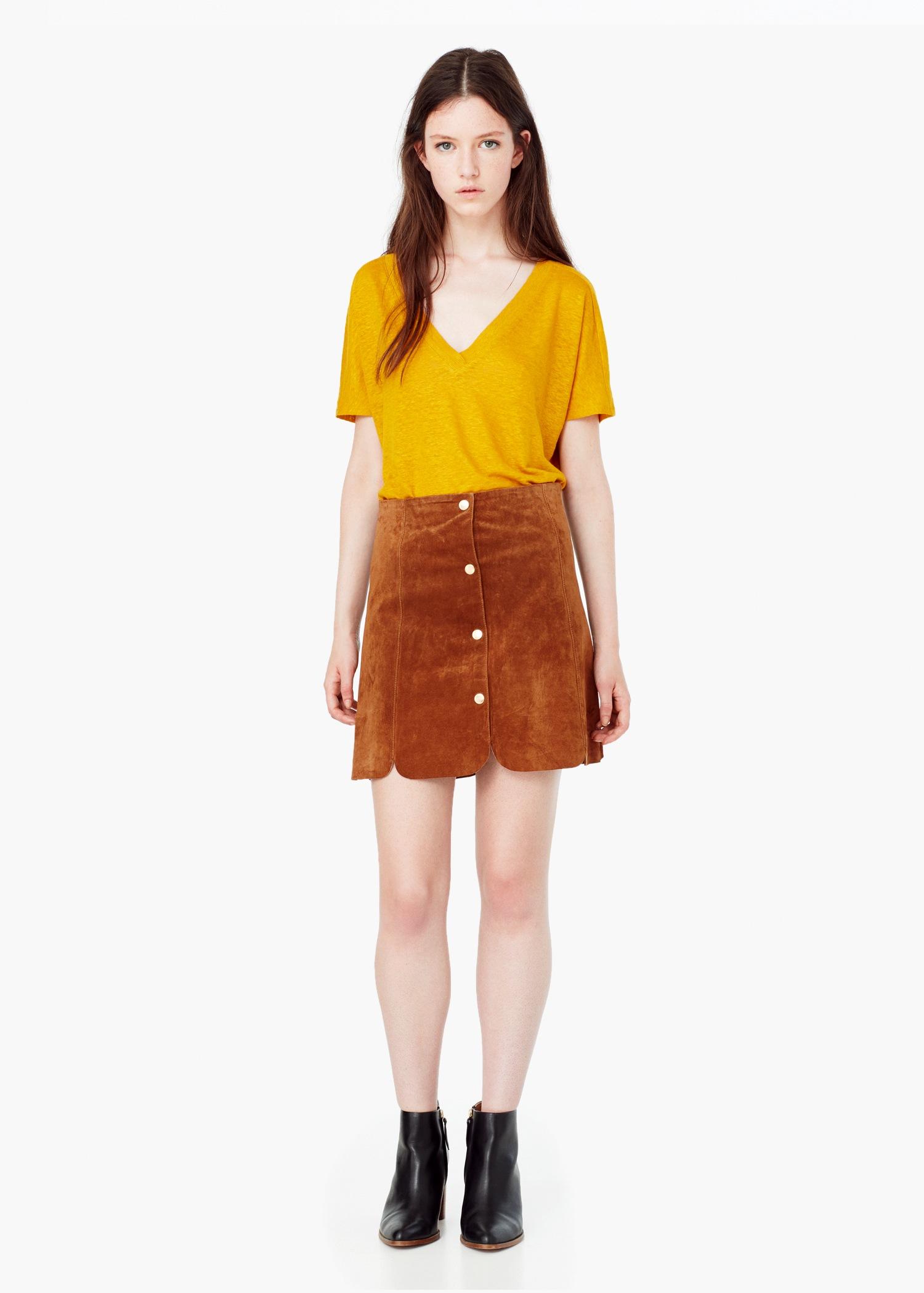 mango suede skirt in brown lyst