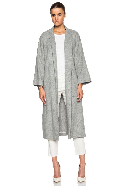 Lyst Jenni Kayne Side Slit Wool Coat In Gray