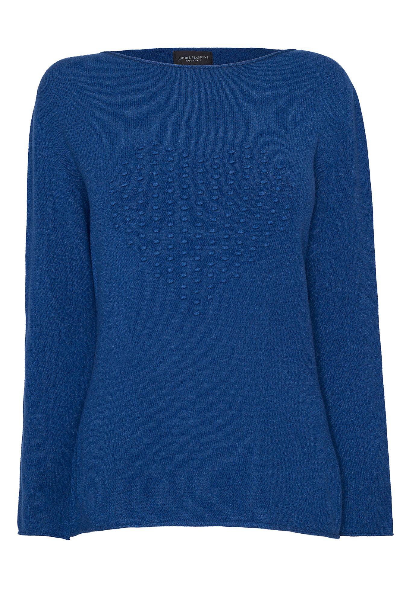 Knitting Pattern Jumper With Heart : James lakeland Heart Knit Jumper in Blue Lyst