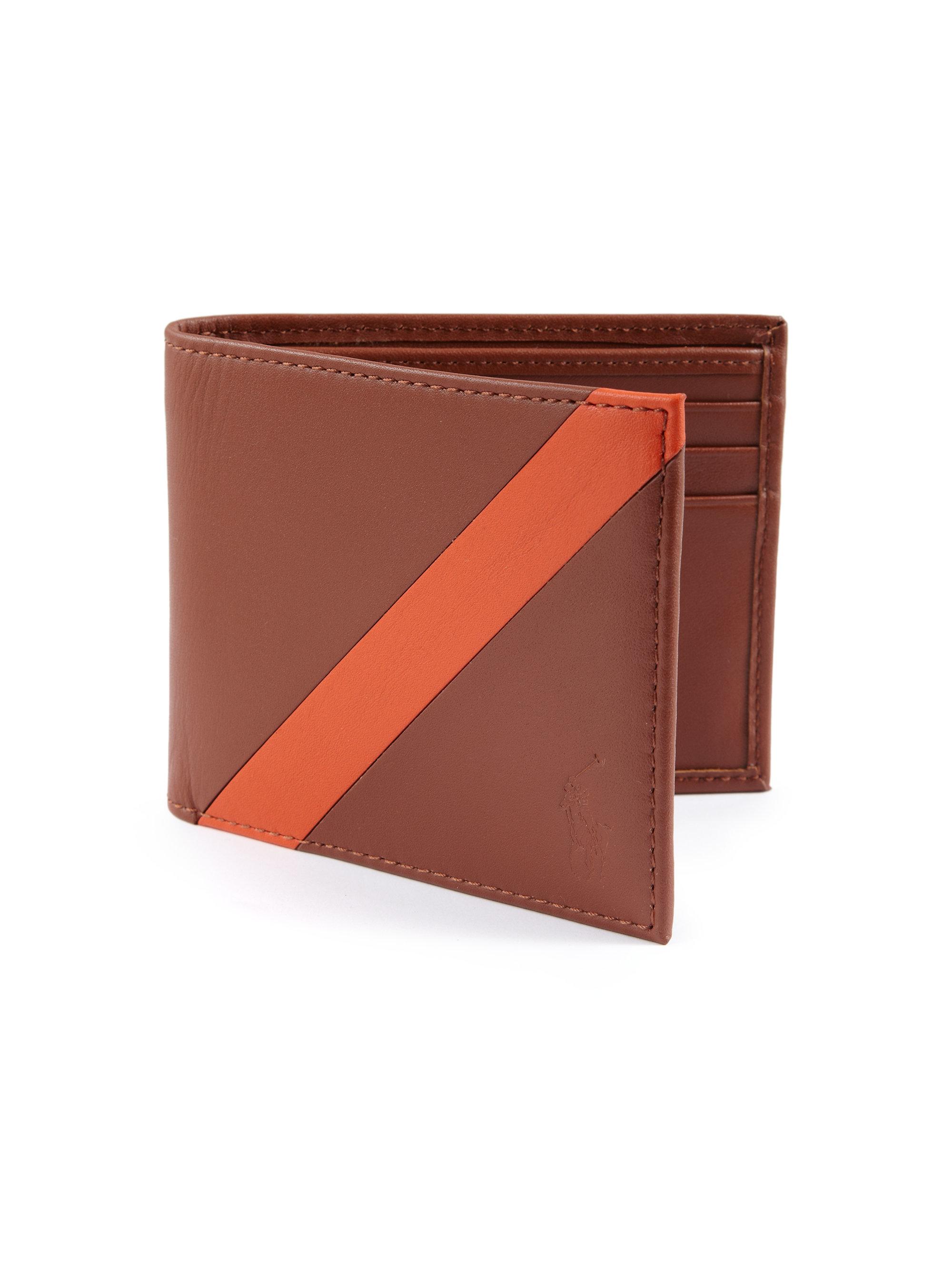 Lyst - Polo Ralph Lauren Contrast Stripe Billfold Wallet in Brown ... de4196f66a2