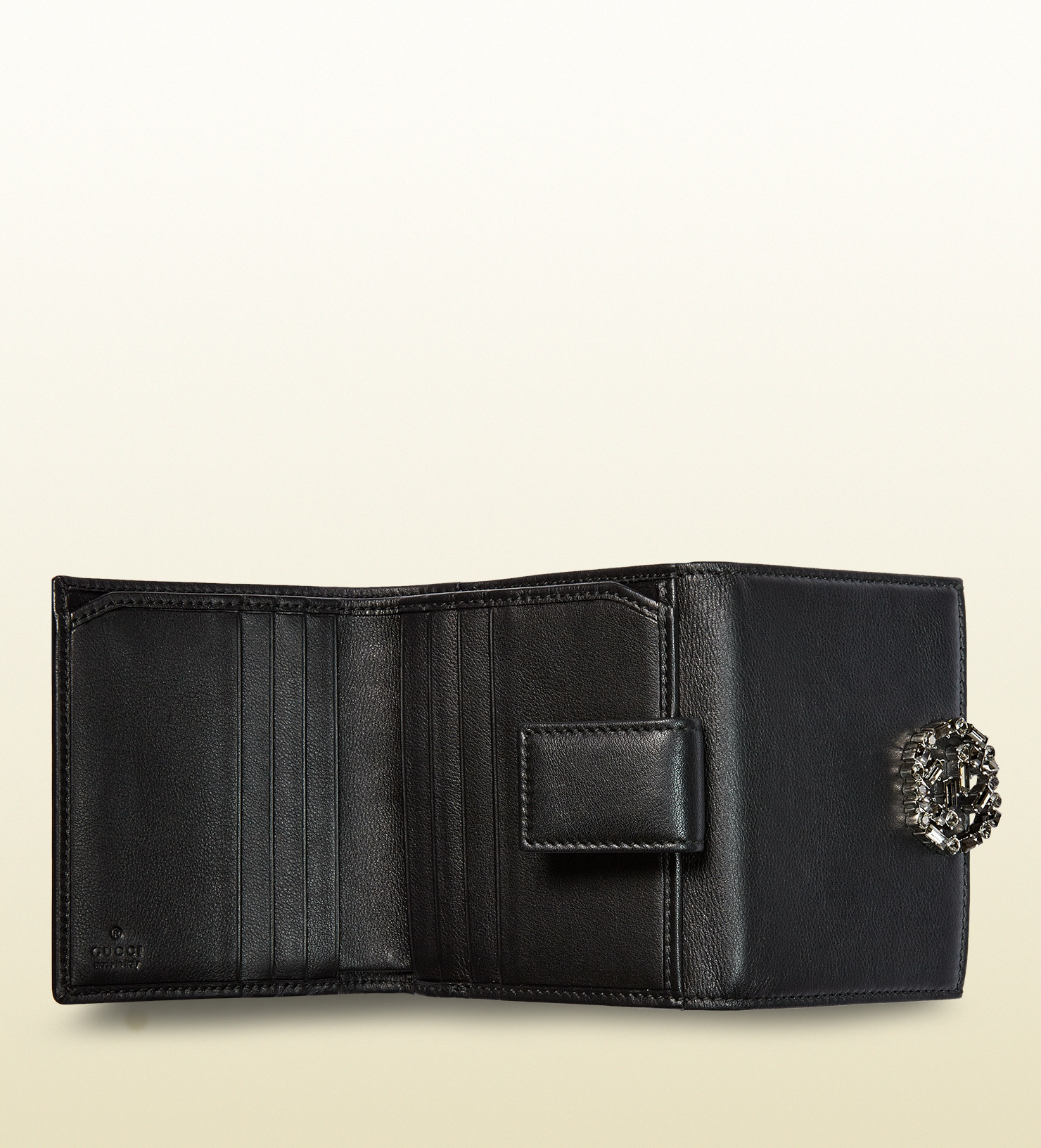 3148ff6bab4 Lyst - Gucci Gg Sparkling Leather Mini French Flap Wallet in Black