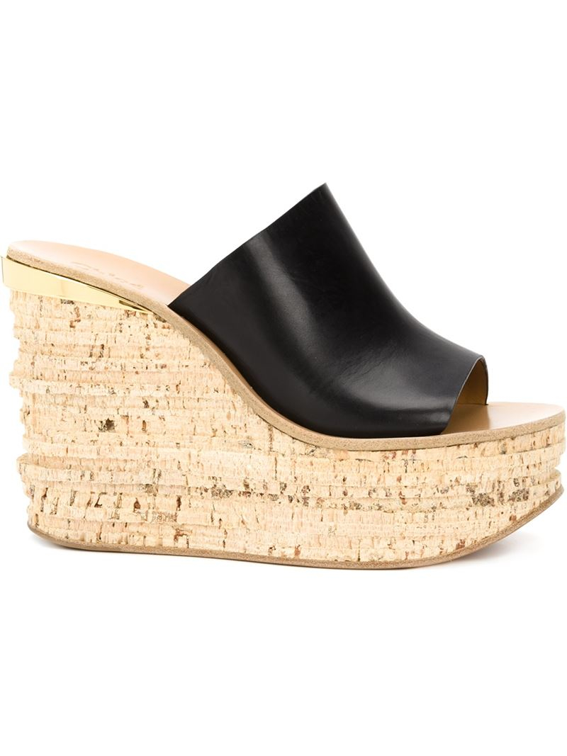 20a7646699dc Lyst - Chloé Camille Leather and Cork Wedges in Black