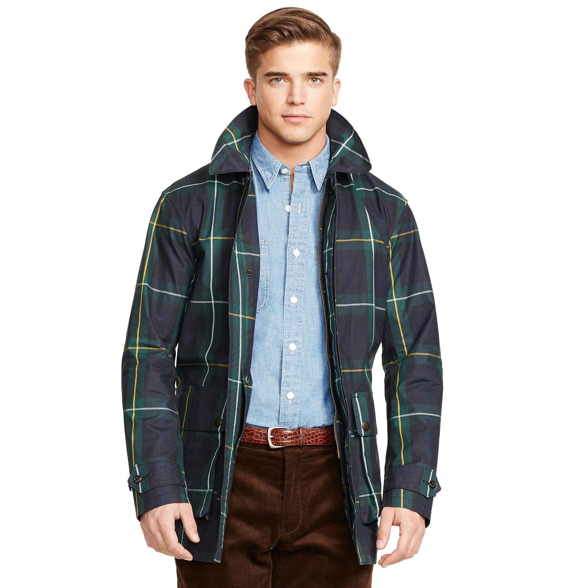Polo Ralph Lauren Plaid Waxed Cotton Jacket In Blue For