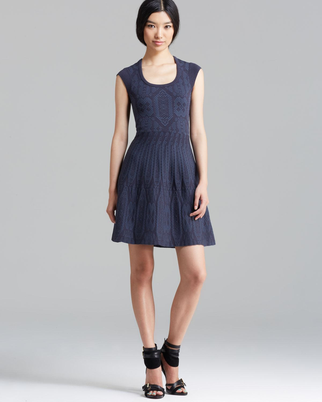 Lyst - Rebecca taylor V Neck Dress - Cobalt in Blue