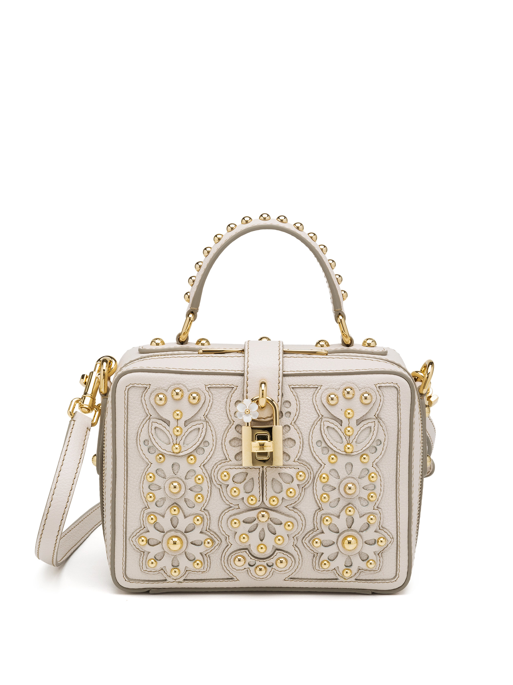 Lyst - Dolce   Gabbana Studded Laser-cut Top-handle Bag in Natural b1ad315914db0