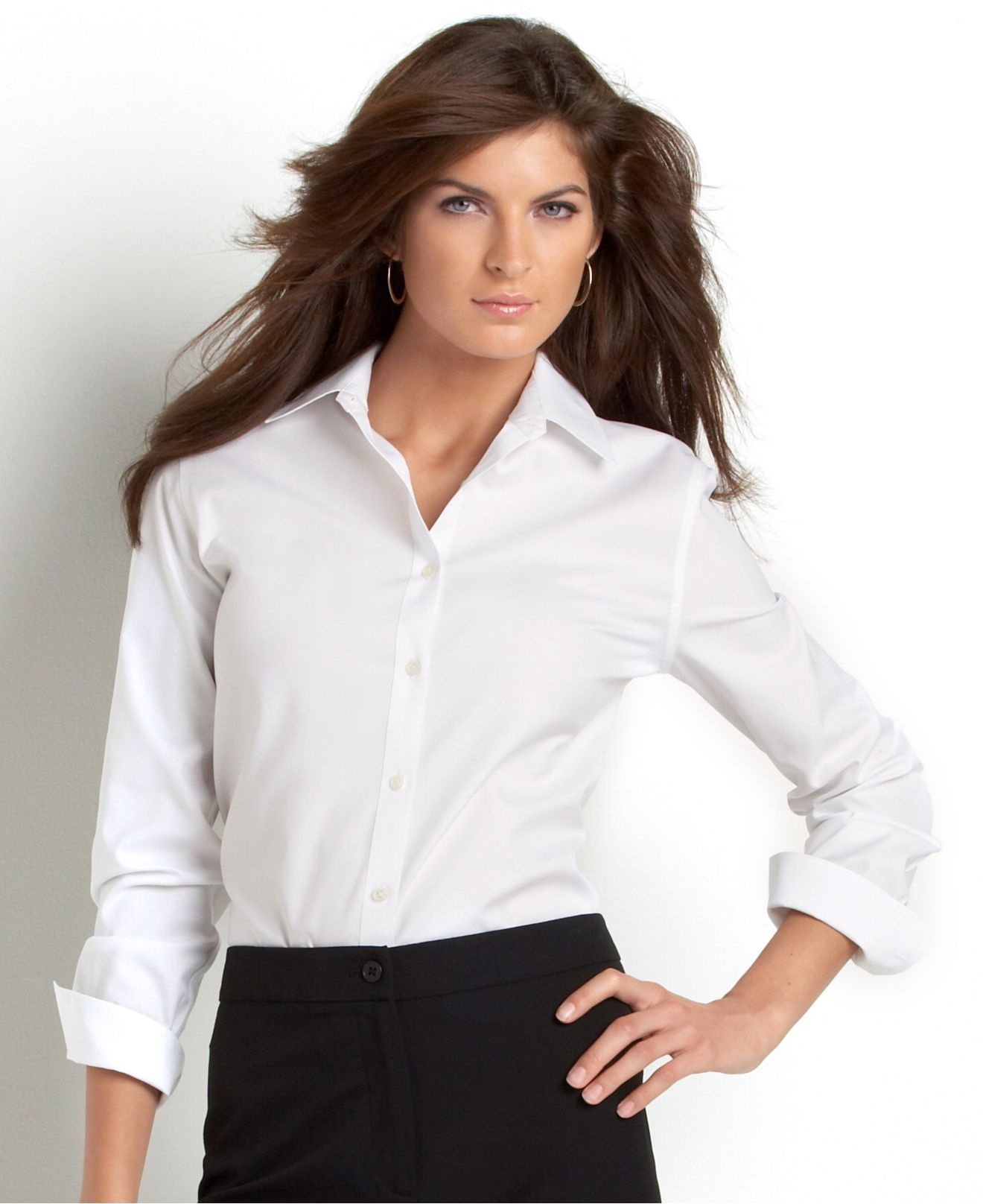 Jones new york signature long sleeve easy care shirt in for New york and company dress shirts