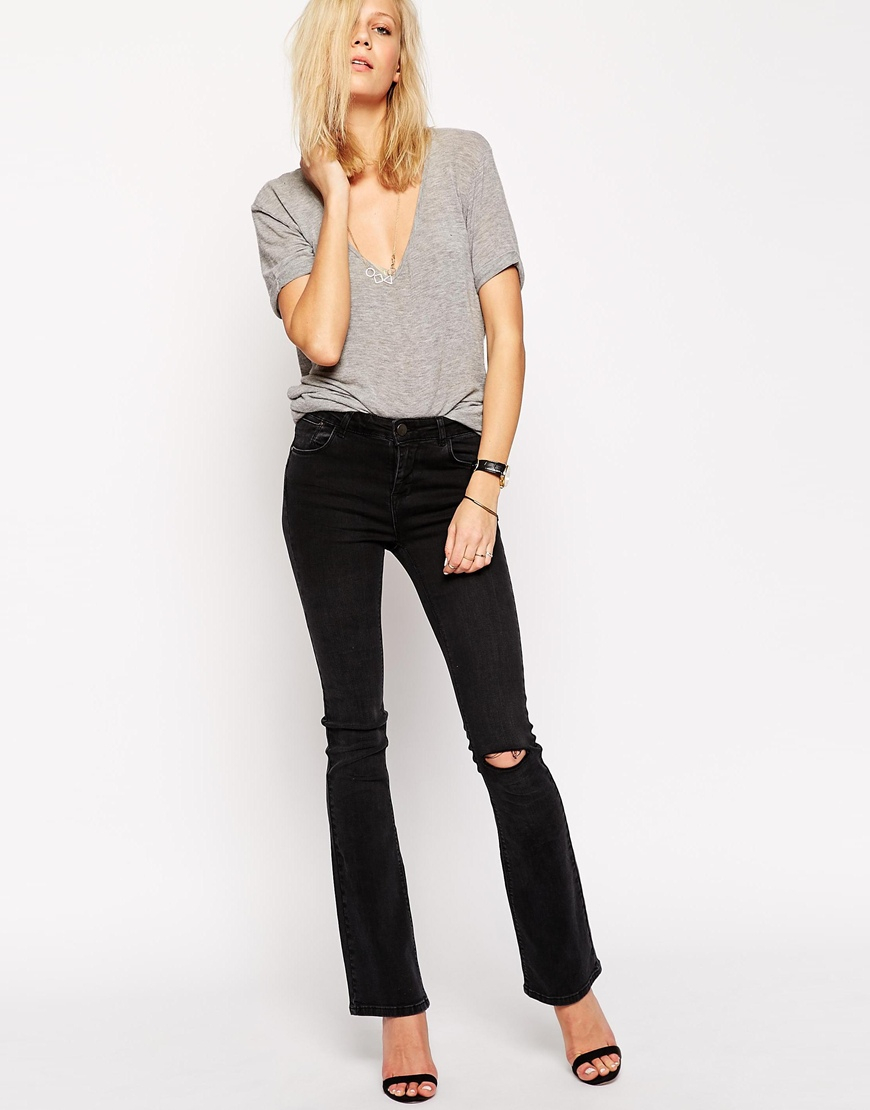 Asos Baby Kick Flare Jeans In Washed Black With Ripped Knee in ...
