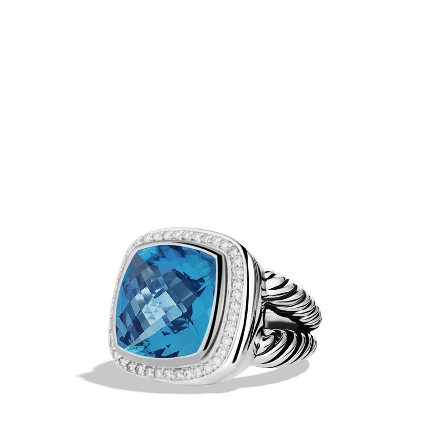 david yurman albion ring with blue topaz and diamonds in