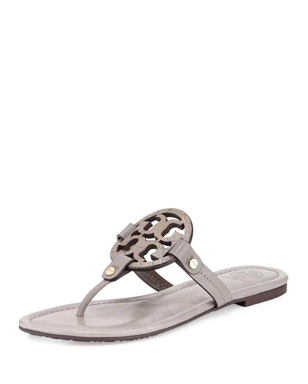 59d4a3dcac4055 Lyst - Tory Burch Miller Logo Flat Sandal in Gray