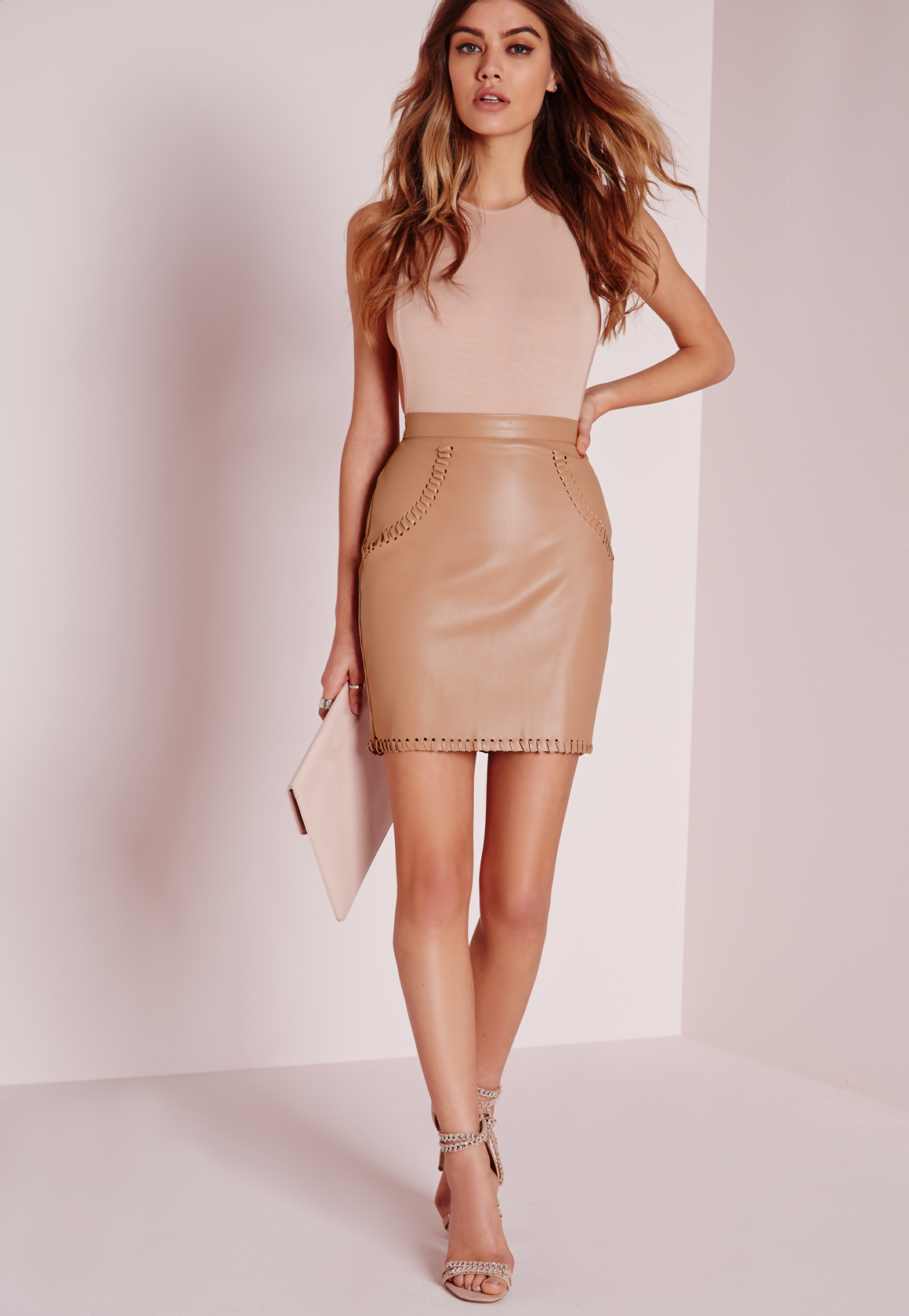 Missguided Stitch Detail Faux Leather Mini Skirt Nude in Natural ...