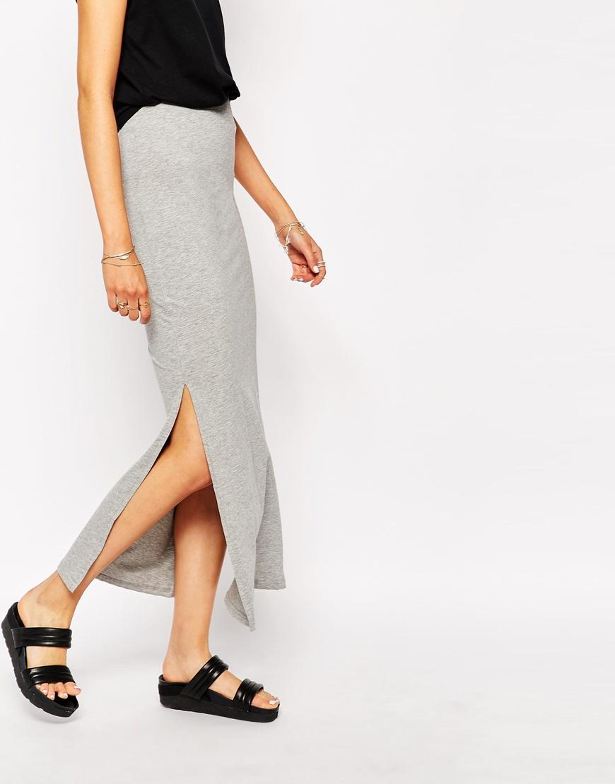 9c23814f53 Vila Jersey Maxi Skirt With Side Split in Gray - Lyst