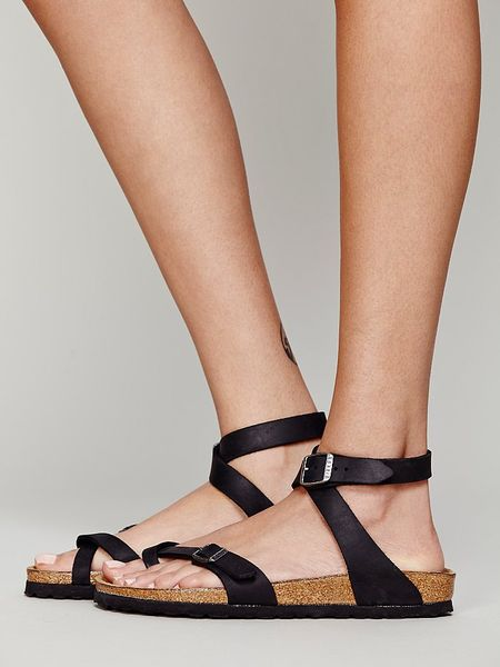 Black leather gloves asos - Free People Yara Leather Sandals In Black Lyst