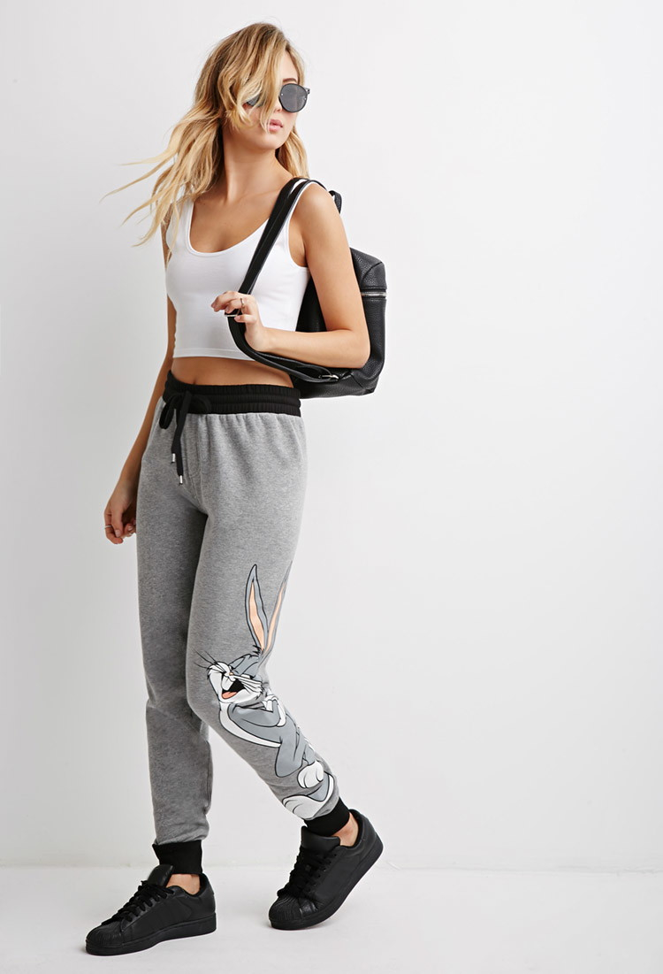 e83e9c41d0fda8 Lyst - Forever 21 Bugs Bunny Heathered Sweatpants in Gray