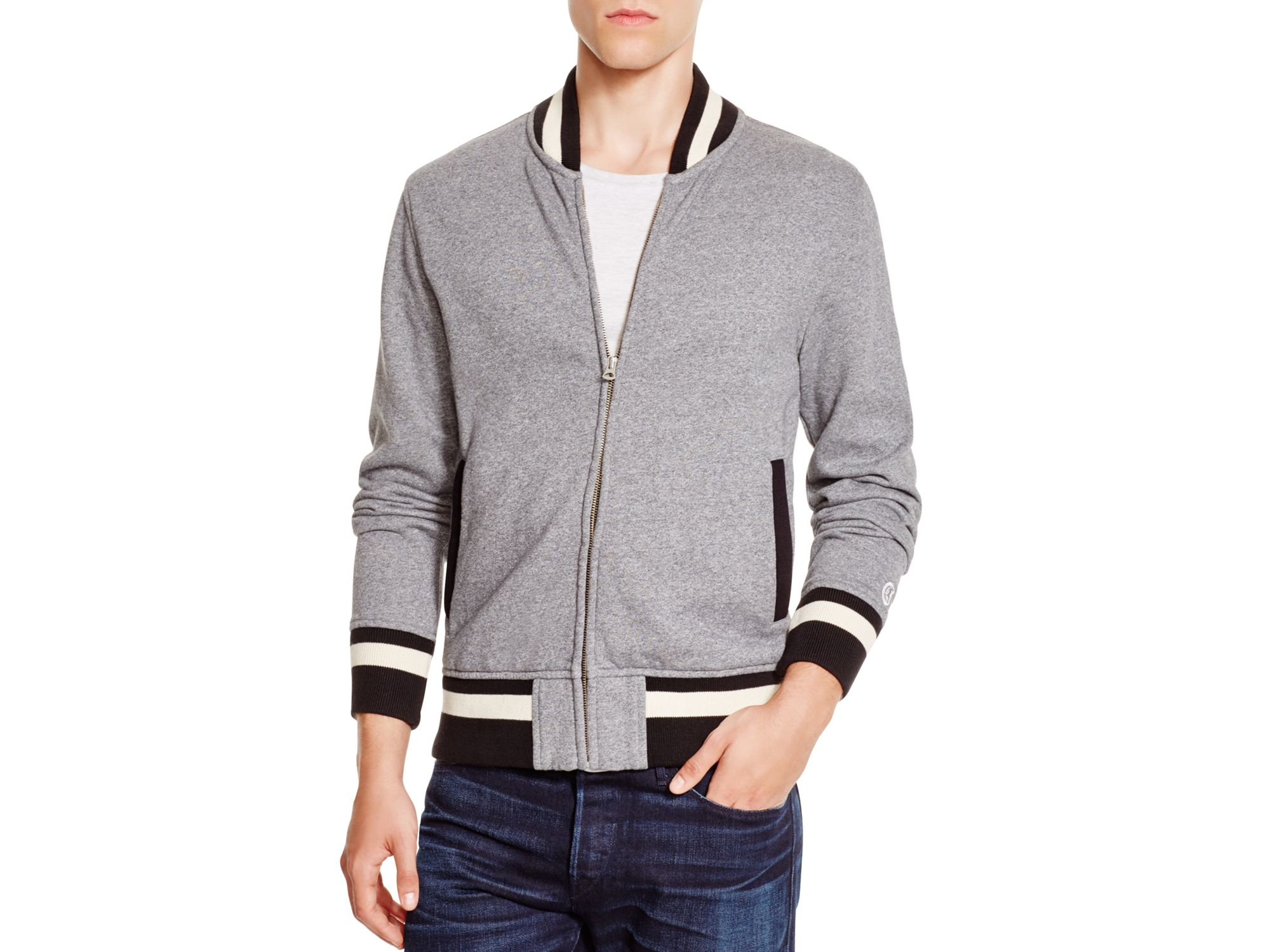 Todd snyder Todd Snyder   Champion Knit Baseball Jacket in Gray ...