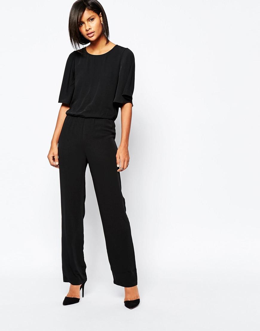 vero moda kimono sleeve jumpsuit black in black lyst. Black Bedroom Furniture Sets. Home Design Ideas