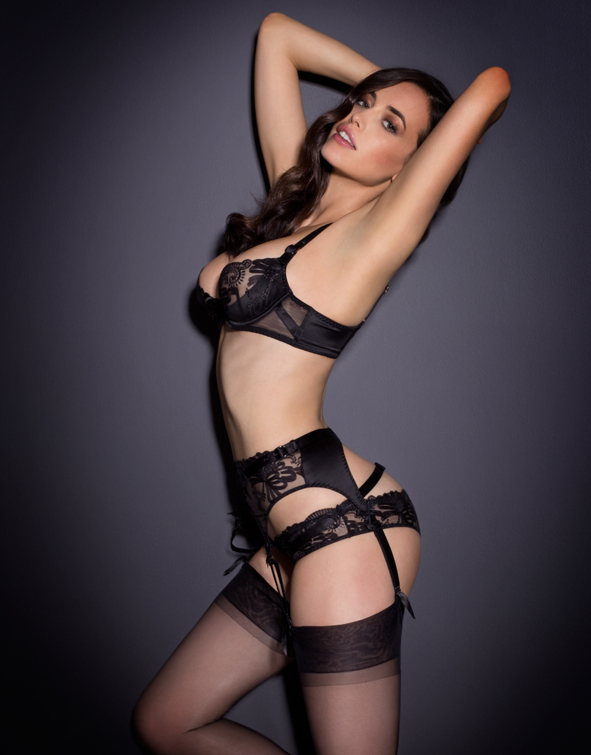 lyst agent provocateur larizsa suspender in black. Black Bedroom Furniture Sets. Home Design Ideas