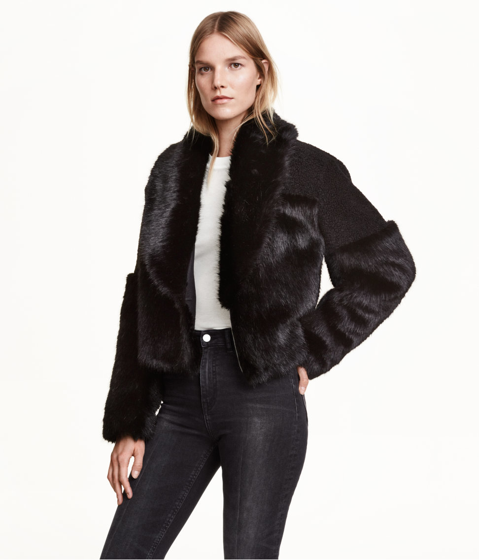 H&m Short Faux Fur Jacket in Black   Lyst
