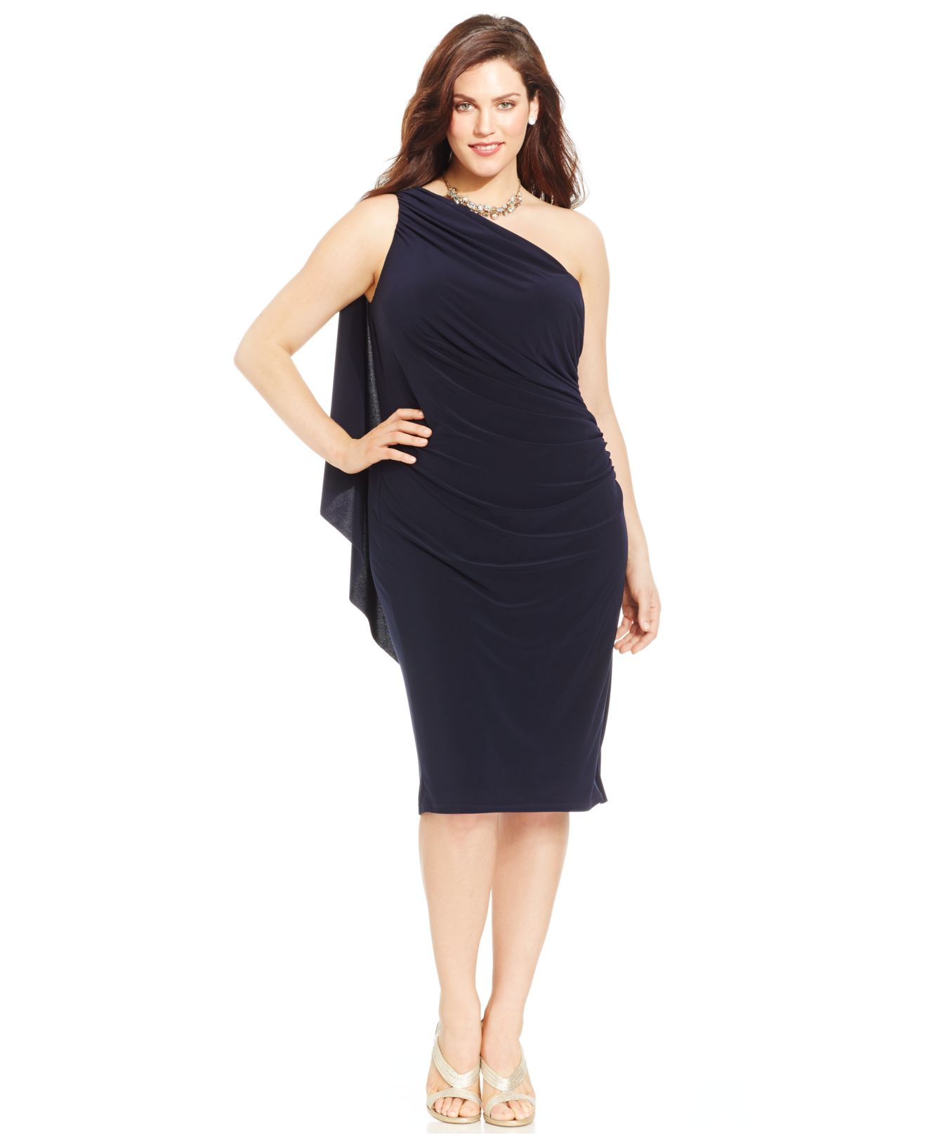 Betsy & Adam Plus Size One-shoulder Ruched Dress in Blue - Lyst