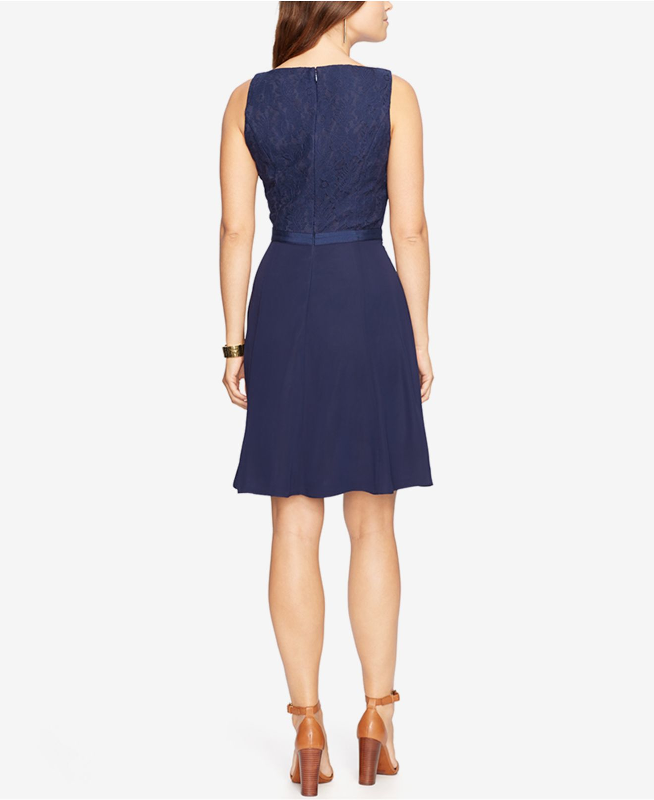 American Living Floral Lace A Line Dress In Blue Lyst