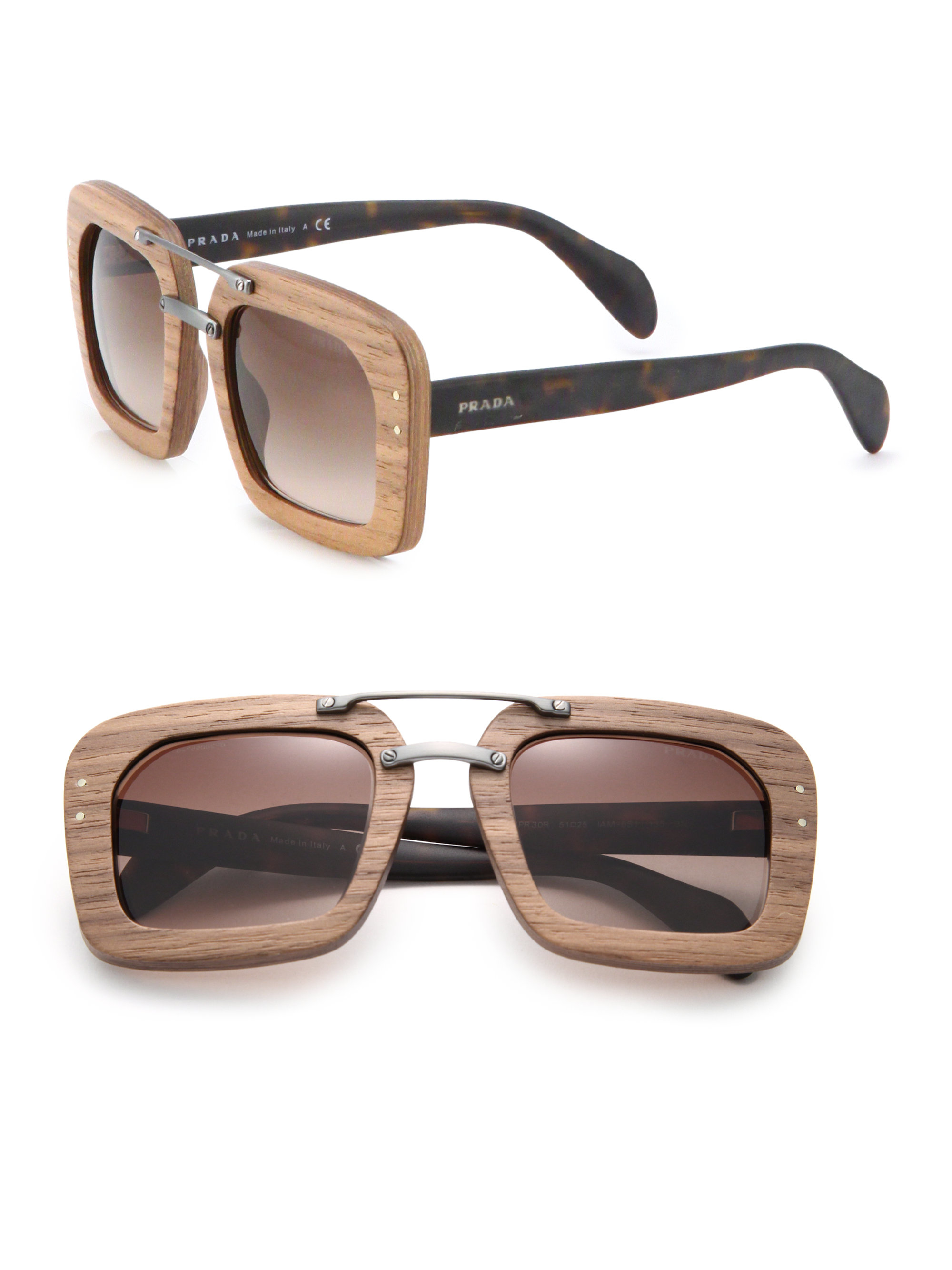 810d35709a Prada Wooden 51mm Square Sunglasses in Brown - Lyst