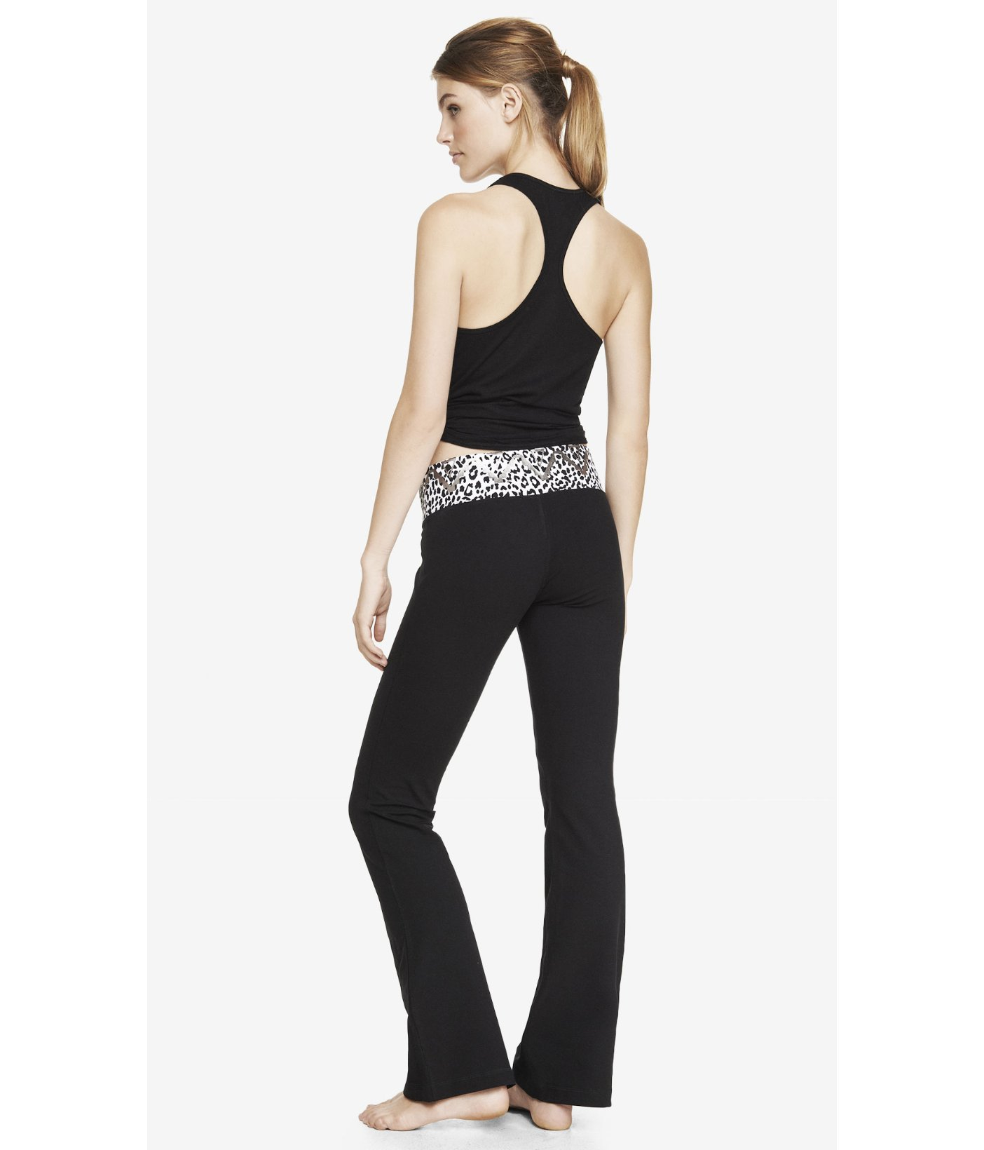 fc36f8485e8a0 Express Leopard Aztec Wide Band Flare Yoga Pant in Black - Lyst