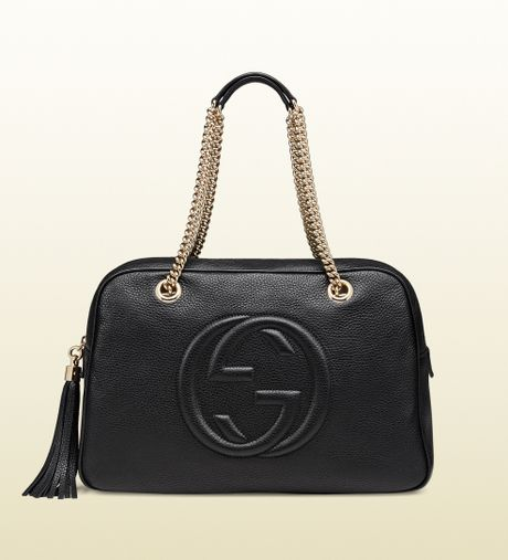 dff4b41f9a38 Gucci Soho Black Leather Chain Medium Shoulder Bag | Stanford Center ...