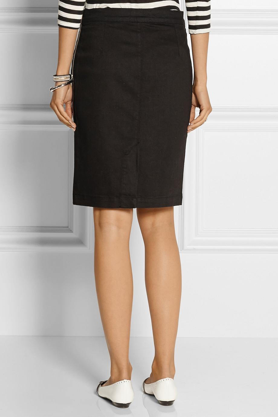 Lyst Frame Le High Stretch Denim Skirt In Black
