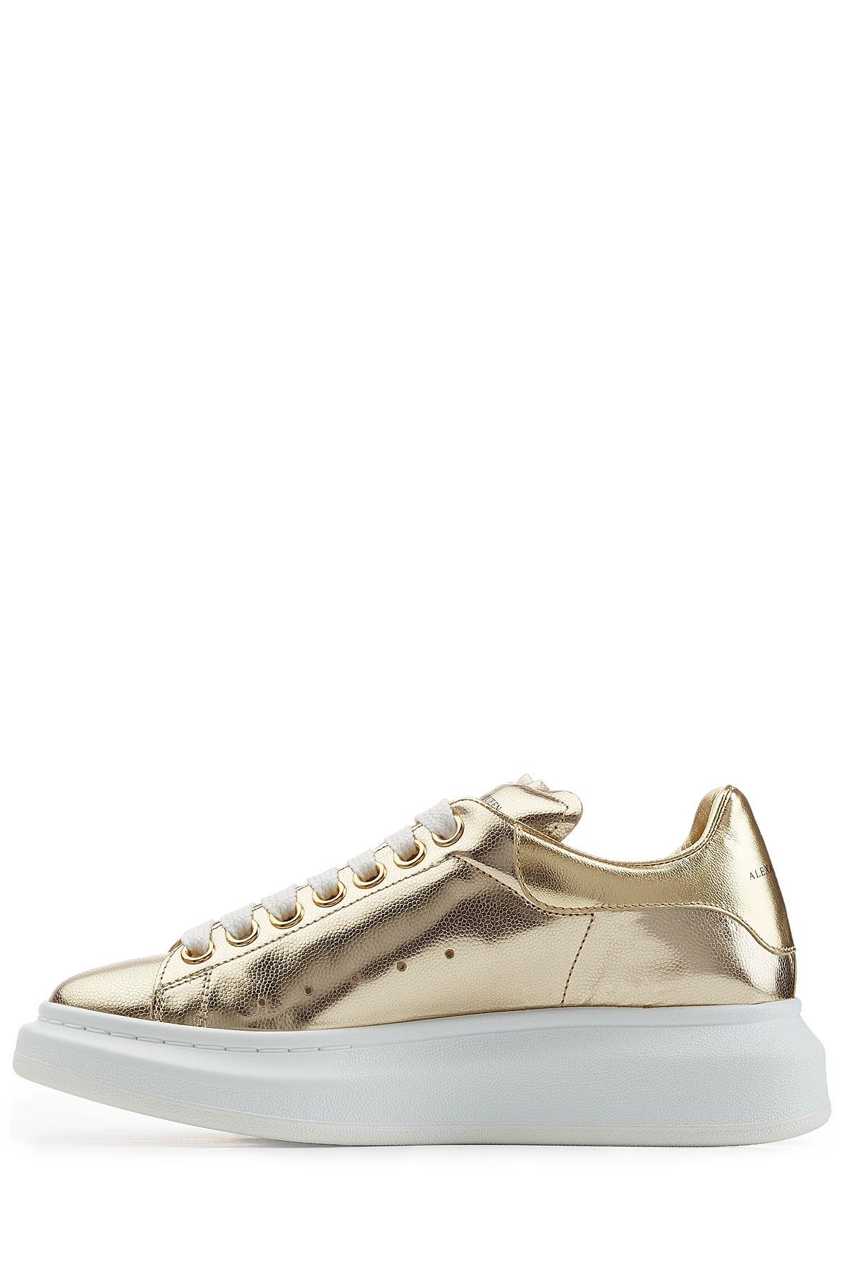 5d29738879e0c Lyst - Alexander McQueen Metallic Leather Sneakers - Gold in Metallic