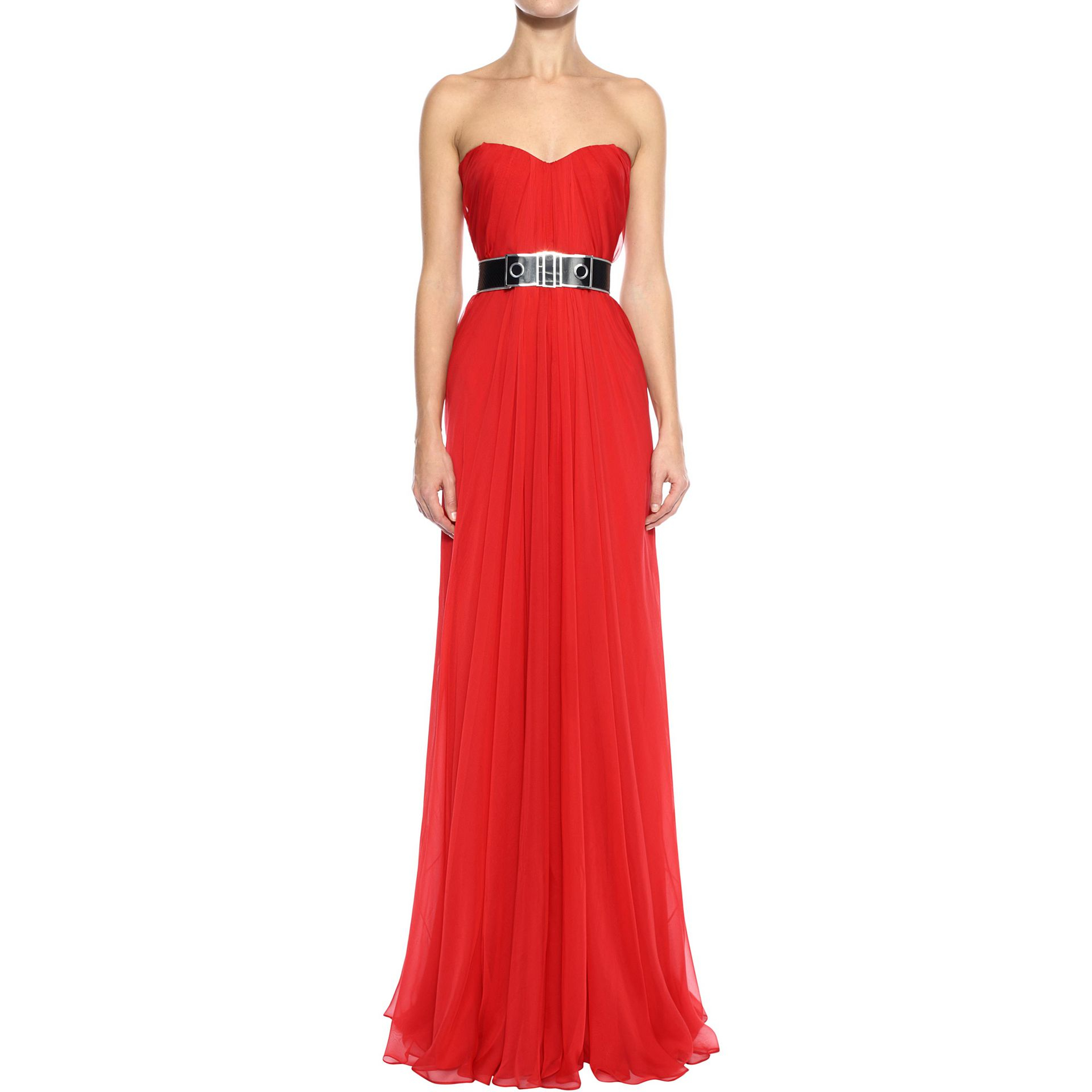 Alexander mcqueen Draped Bustier Gown in Red | Lyst
