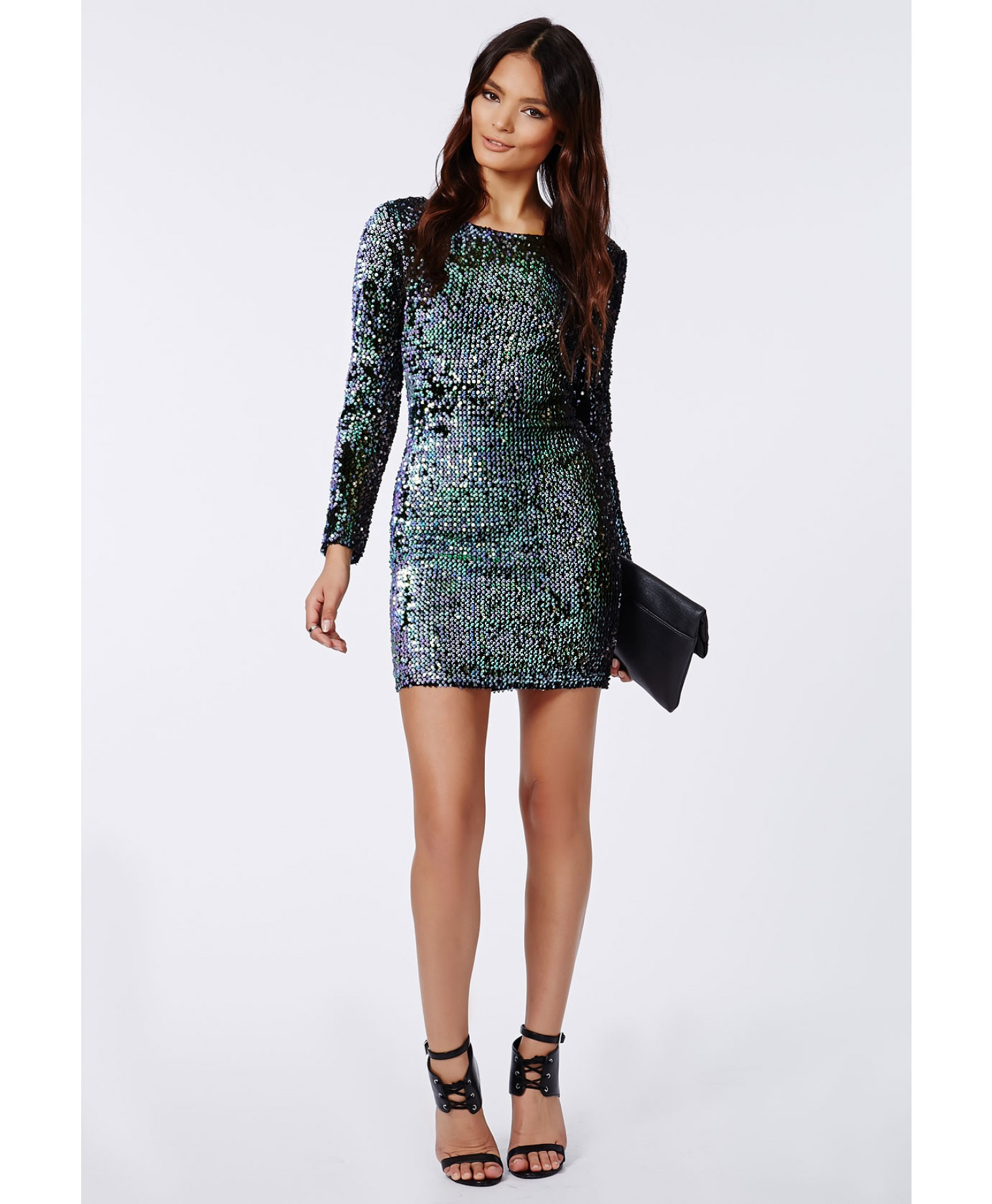 d620f227 Lyst - Missguided Ivy Mermaid Sequin Long Sleeve Mini Dress Green in ...
