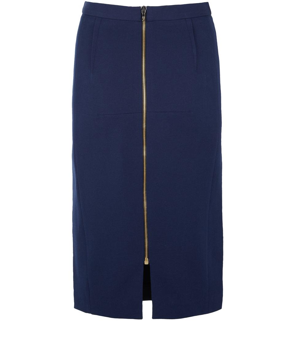 Roland mouret Navy Arlai Bicolour Pencil Skirt in Blue | Lyst