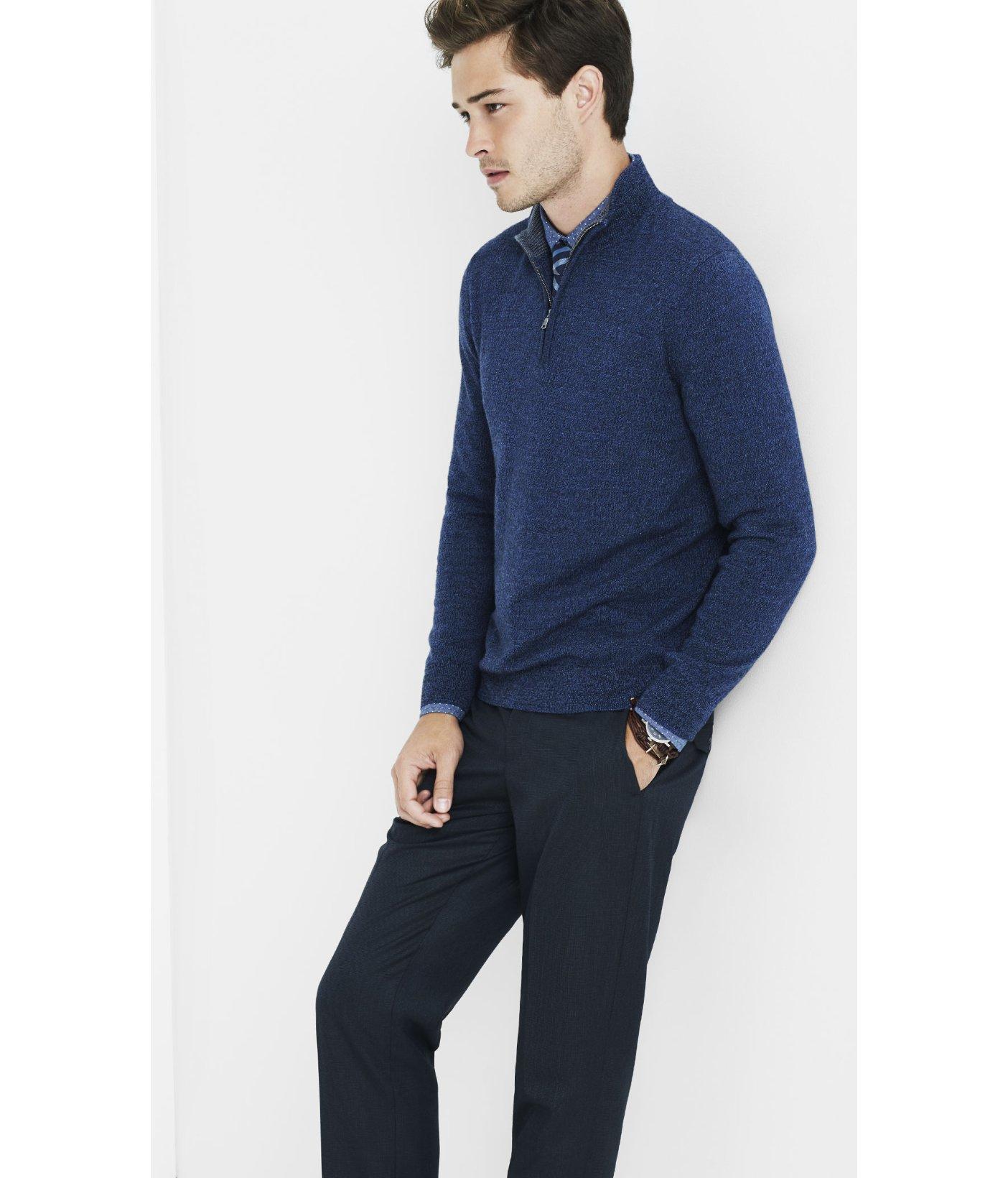 Merino Wool Zip Up Mock Neck Sweater 4